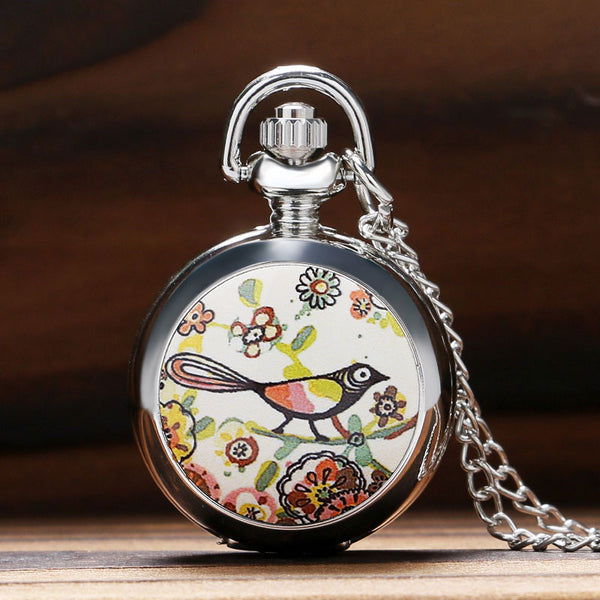 Cute Magpie Little Bird on The Tree Pettern Pocket Watch Enamel Kid