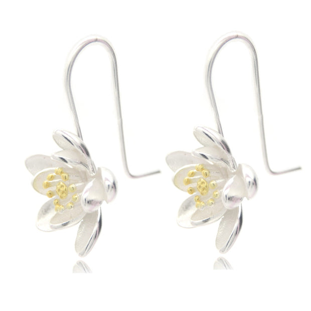 New Famous Brand 925 Sterling Silver Flower Drop Earrings for Women