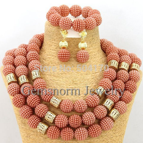 Coral Costume African Jewelry Sets18K Chunky Nigerian Beads Wedding Jewelry Set Bridal Statement Jewelry Set Free Shipping WB058