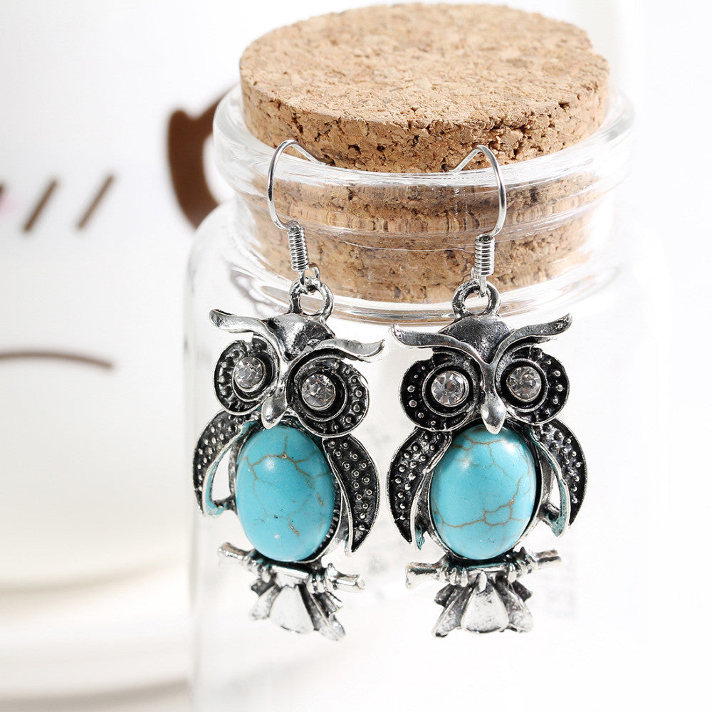 Charming Crystal Tibetan Silver Turquoise Earring Owl Drop Dangle