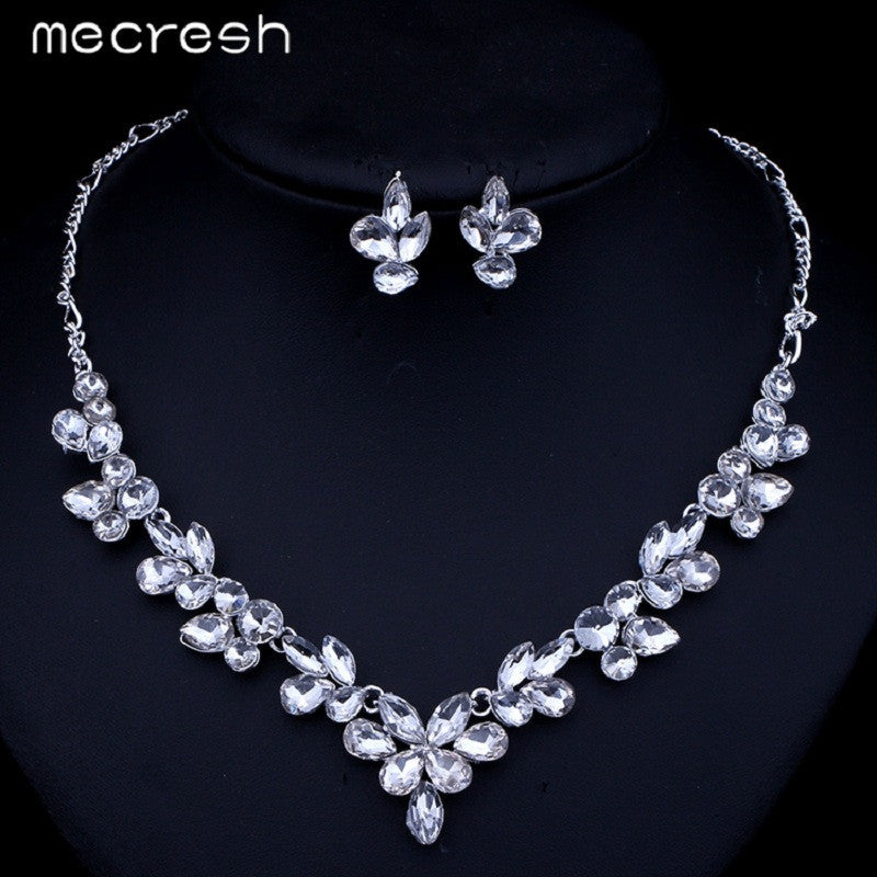 Mecresh Gorgeous Leaves Crystal Bridal Jewelry Sets Silver Plated
