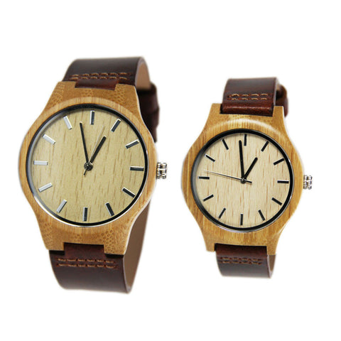 Fashion New Antique Genuine Cowhide Leather Band Lovers Luxury Watches Wooden  Bamboo Wristwatch for Men Women with best gift