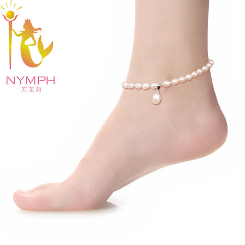 NYMPH  Pearl Anklets 100% Natural Freshwater Pearl  fine jewelry  For Women  NYJL101