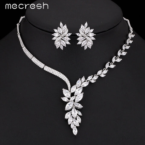 Mecresh Top Cubic Zirconia Bridal Accessories Flower Necklace + Earrings Wedding Jewelry Sets TL335