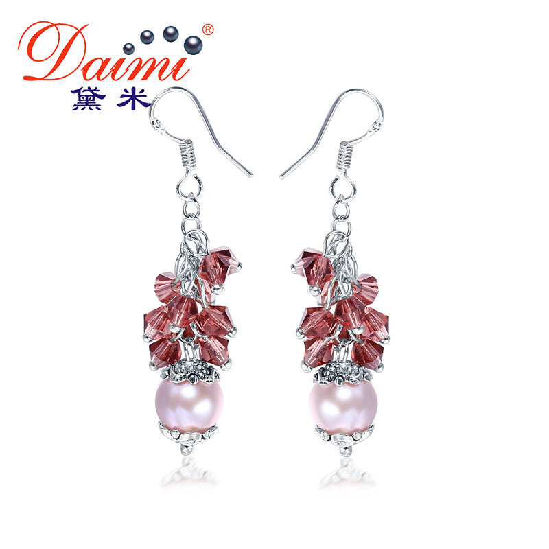 DAIMI Cultured Pearl Earrings, 925 Silver 9-10mm Drop Earrings, Trendy