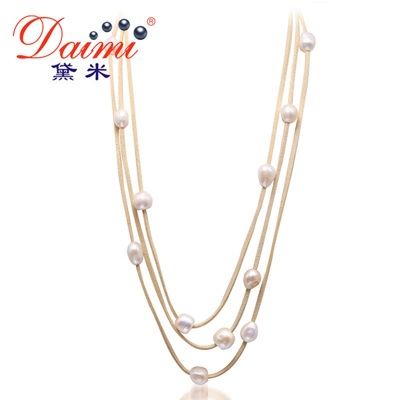DAIMI 9-10MM Natural White Baroque Pearl & Leather 3 Layer Necklace
