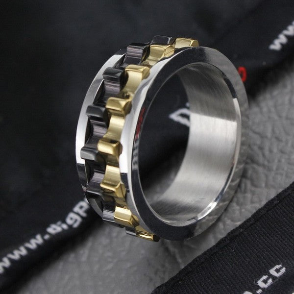 ORSA JEWELS Unique Design Men Ring Moveable Gear 316L Stainless