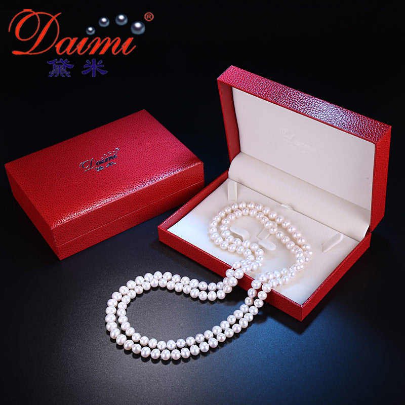 [DAIMI] Simple Longer Necklace, Natural 8-9mm Fresh Water Pearl, 120cm