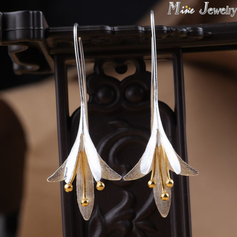 Latest New Style Fashion 925 Silver Drop Earrings Flower Silver