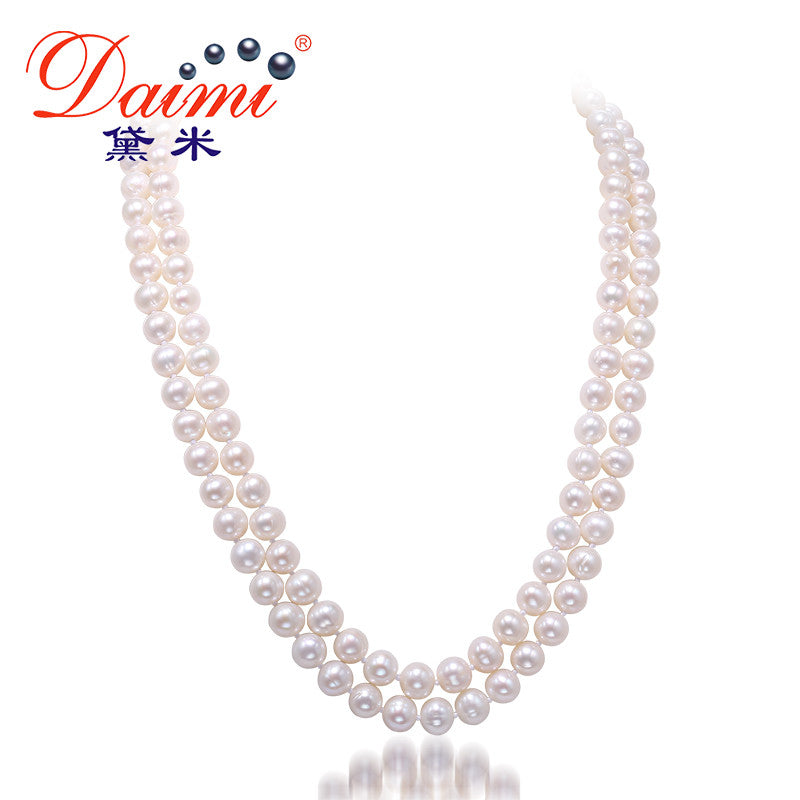 DAIMI 7-8MM Pearl Necklace Natural White Pearl Double Strand