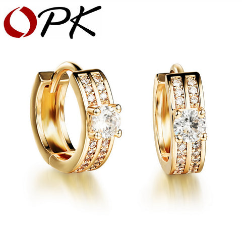 OPK Yellow Gold Plated Clip Earrings Fashion Double Layer AAA+ Cubic