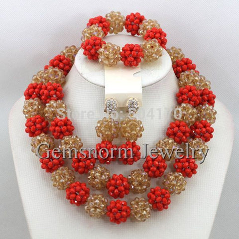 Luxury Red/Champagne Gold African Beaded Jewelry Set Nigerian Wedding Crystal Beads Necklace Set Free Shpping GS753