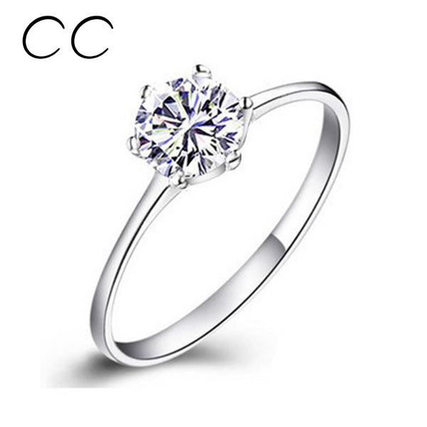 Engagement Rings For Women Simple Classic Bague CC041 White Gold Plate – ROSa