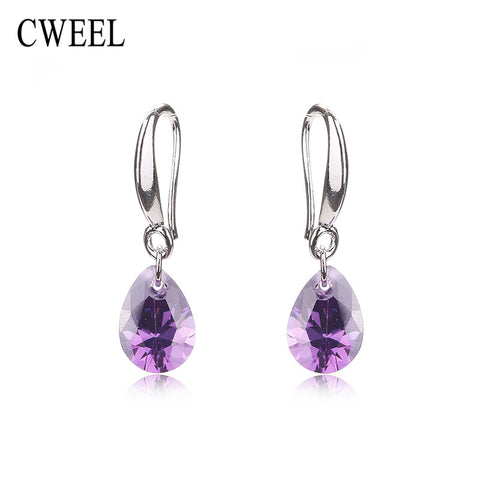 CWEEL Party Stud Earrings For Teen White Gold Plated Women Wedding Imitated Crystal Bridal Holiday Fashion Earring Accessories