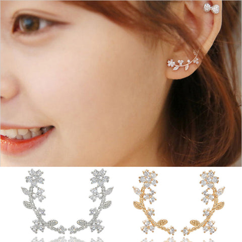 Crystal Stud Earrings Lady Exquisite Gold Color Zircon Leaf Flower Earrings for Women Girl Small Ear Jacket Clips Jewelry