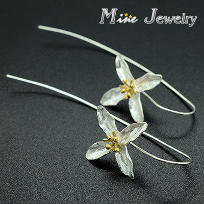 Fashion Plata 925 Silver Drop Earrings Four Leaf Clovers Flower Earrings Jewelry Free Shipping