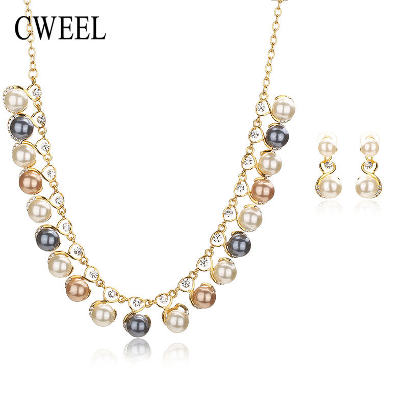 CWEEL Fashion Simulated Pearl Jewelry Sets For Women Pendant Wedding