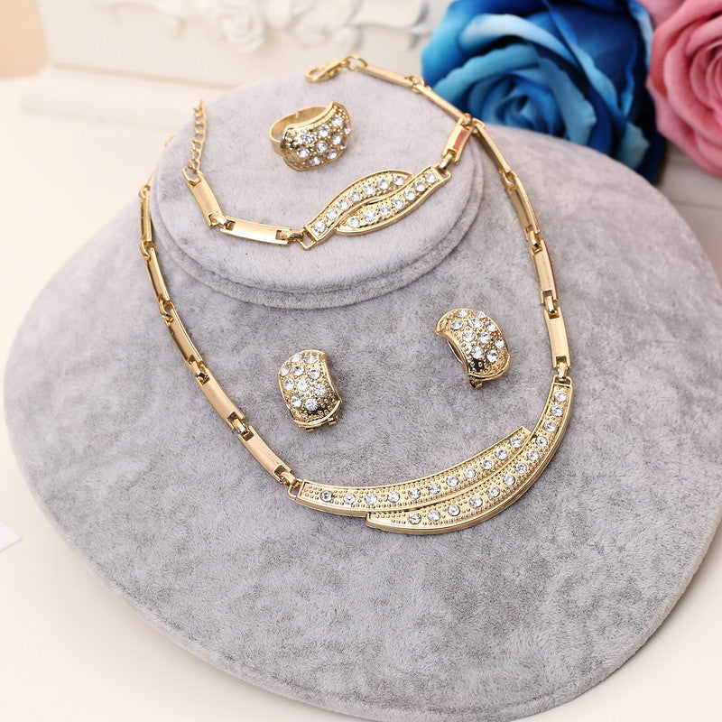 Crystal jewelry sets statement necklace earrings bracelet ring for
