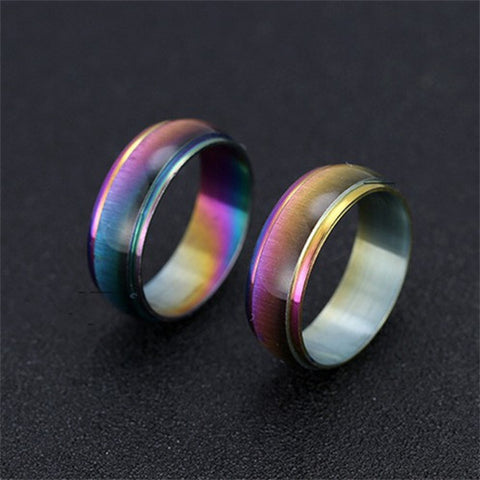 Classic Men Women Rainbow Colorful Ring Titanium Steel Wedding Band Ring Width 6mm Size 7-11 Gift