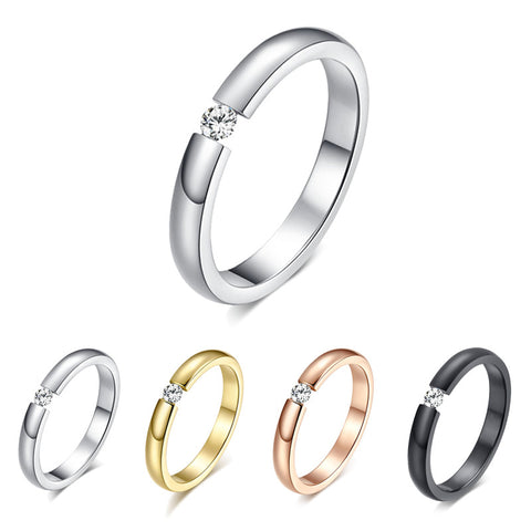 Fashion Jewelry White CZ Ring Anel Aneis Sz5-10 Simple Titanium Steel Couple Rings Black Silver Rose Gold Women/Men Wedding Band