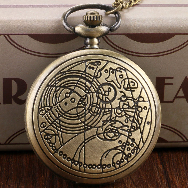 Doctor Who Theme Bronze Vintage Quartz Fob Pocket Watch With Chain