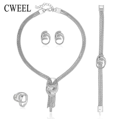 CWEEL Jewelry Sets For Women African Imitated Crystal Tassel Pendant Necklace Earrings Bracelet Ring Platinum Plated Accessories