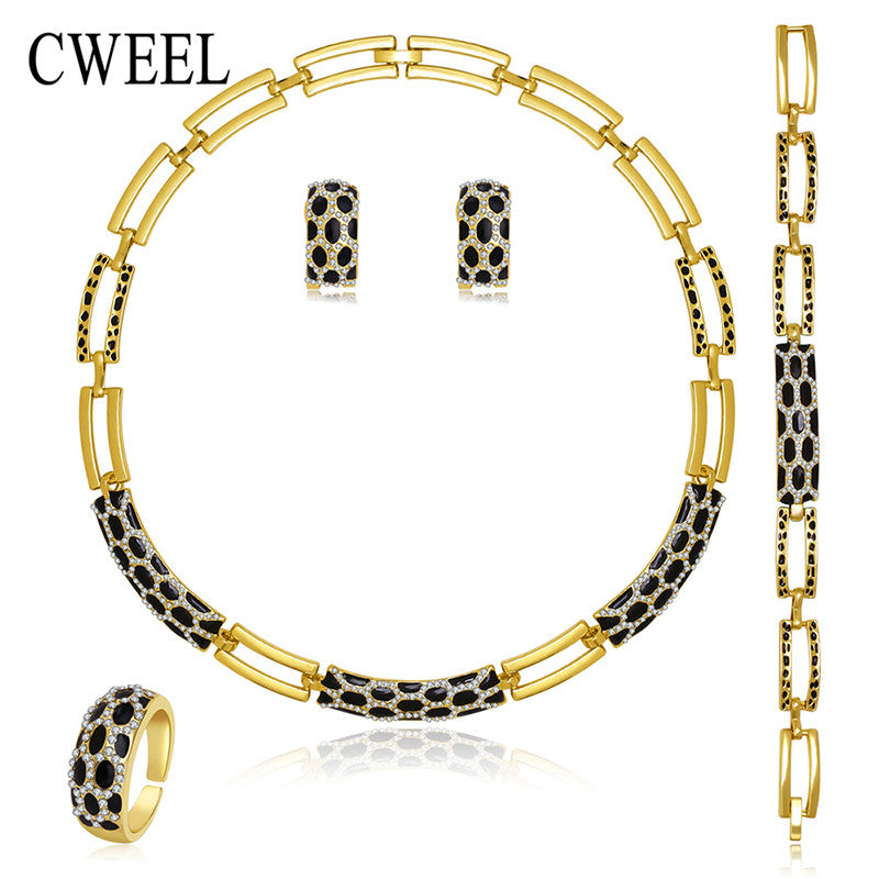 CWEEL New Jewelry Sets Necklace Ring Bracelet Earrings Wedding Gold