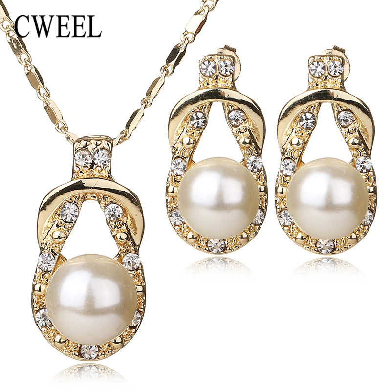 CWEEL Necklace Earrings Set Gold Plated New Jewelry Sets For Women