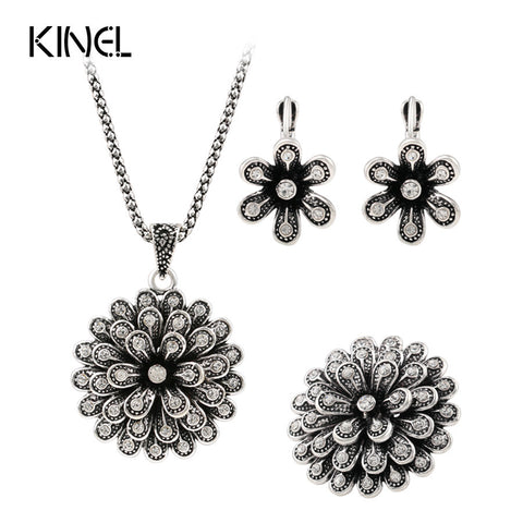 Luxury 3pcs Fashion Bridal Jewelry Sets Plating Silver Retro Look Crystal Flower Necklace Ring EarringAfrican Beads Jewelry Set