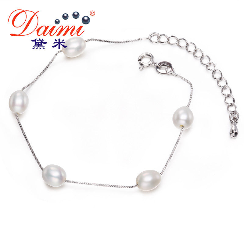 DAIMI 6-7mm White Rice Freshwater Pearl Silver Bracelet Romantic