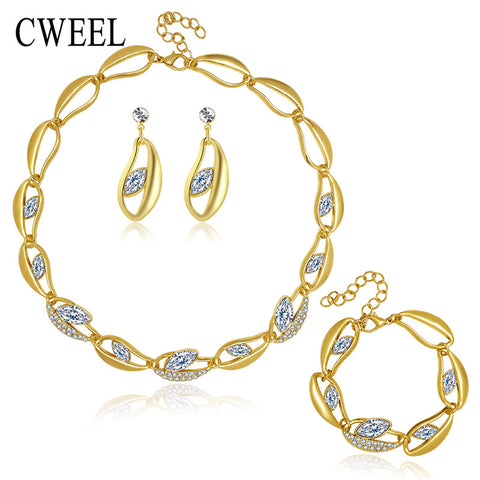 CWEEL New African Beads Jewelry Sets For Women Party Gold Plated Imitated Crystal Pendant Necklace Earrings Wedding Accessories