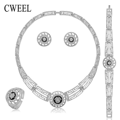 CWEEL Women Bridal Wedding Jewelry Sets Charm Imitated Crystal Zinc Alloy Pendant Necklace Earrings Set Bijoux Party Accessories