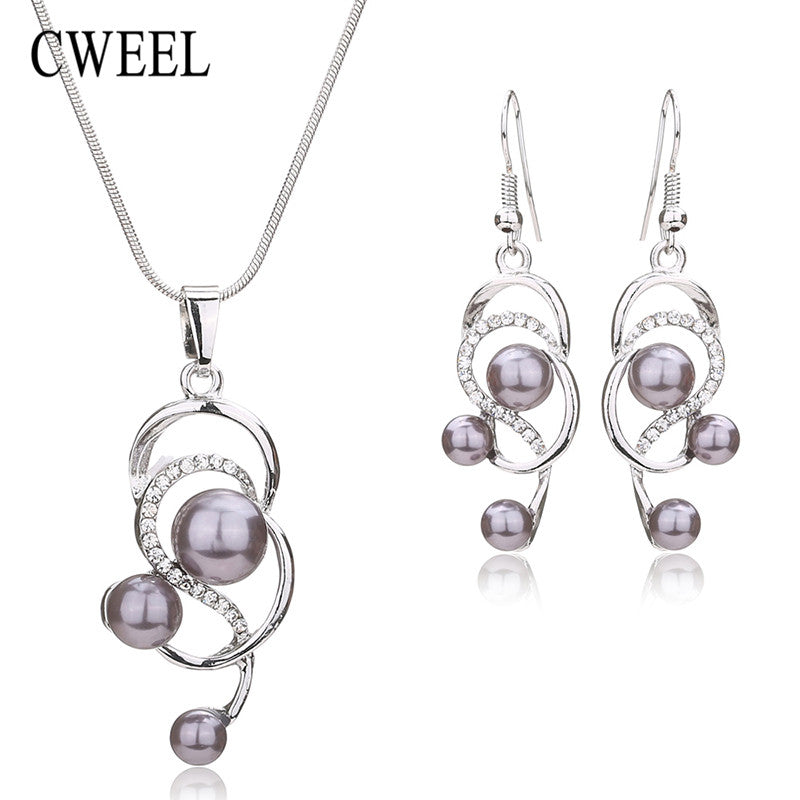 CWEEL Women Simulated Pearl&Crystal Jewelry Set Necklace Earrings