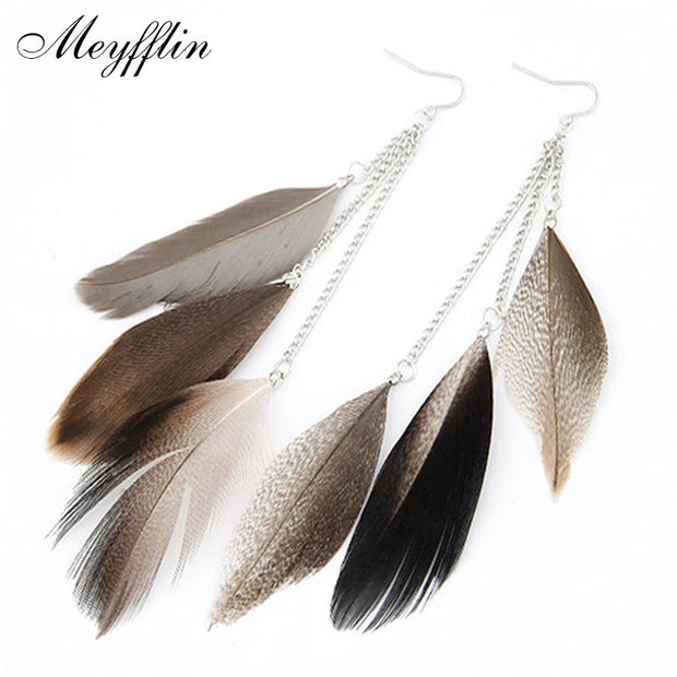 Feather Earrings For Women Boucle D'oreille Fashion Long Earrings