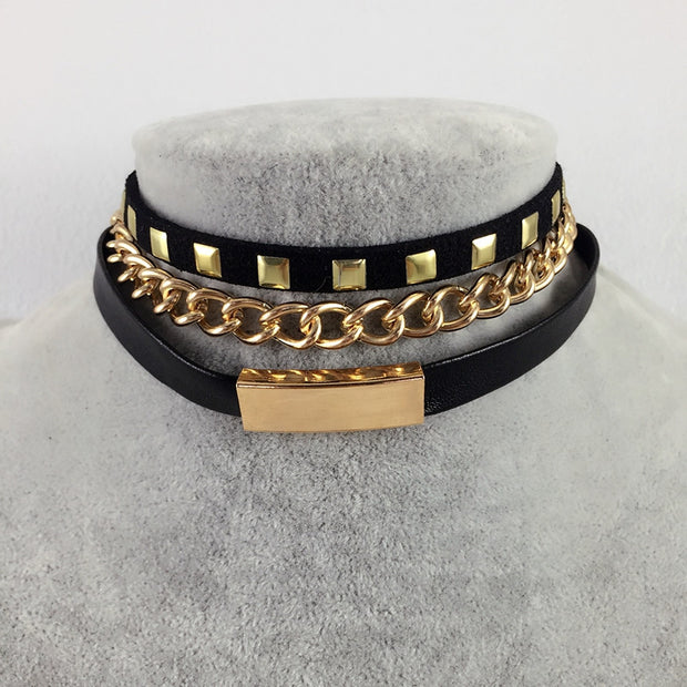 Punk Style Gold/Silver Plated Rivet Black Leather Chain Necklace