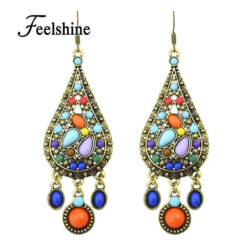 Ethnic Style Vintage Bohemian Colorful Created Gemstone Drop Earrings New 2016 Brincos For Women