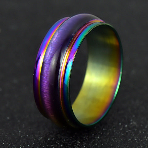Classic Men Women Opal Rainbow Colorful/Gold/Silver  Ring Titanium 316L Stainless Steel Wedding Band Ring Width 7.5mm