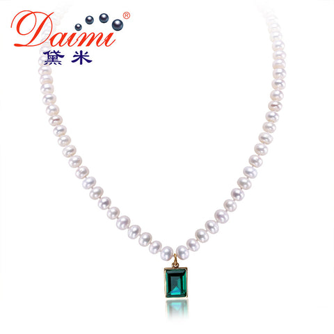 DAIMI Natural Pearl Necklace Handmade AA 6-7mm Cultured Pearl & Shinny Crystal Pendant Necklace Drop Necklace