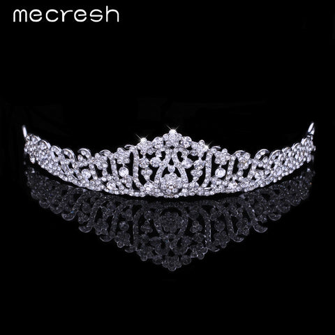 Mecresh Luxurious Crystal Leaf  Tiara Crown Wedding Hair Accessories Bridal Hair Jewelry Wedding Accessories HG011
