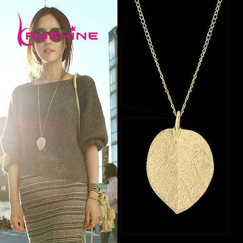 Cheap Fashion Jewelry Maxi Necklace Gold Color Chain Leaf Design Pendant Necklaces & Pendants 2016 New For Women collier femme
