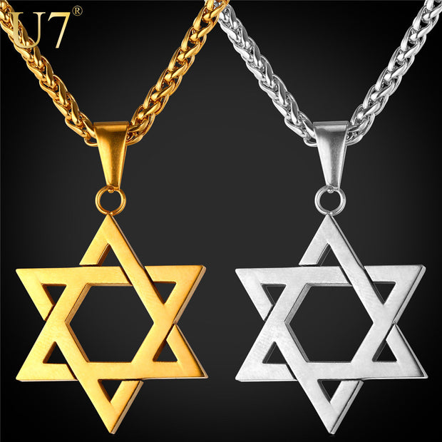 U7 Jewish Jewelry Magen Star of David Pendant Necklace Women Men Chain
