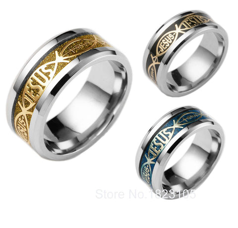 High Quality Jesus Letter 316L Stainless Steel Rings Wedding Band Ring For Men and Woman