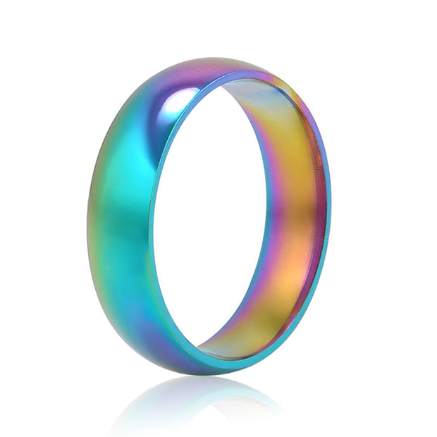 Men Women Rainbow Colorful Ring Titanium Steel Wedding Band Ring Width