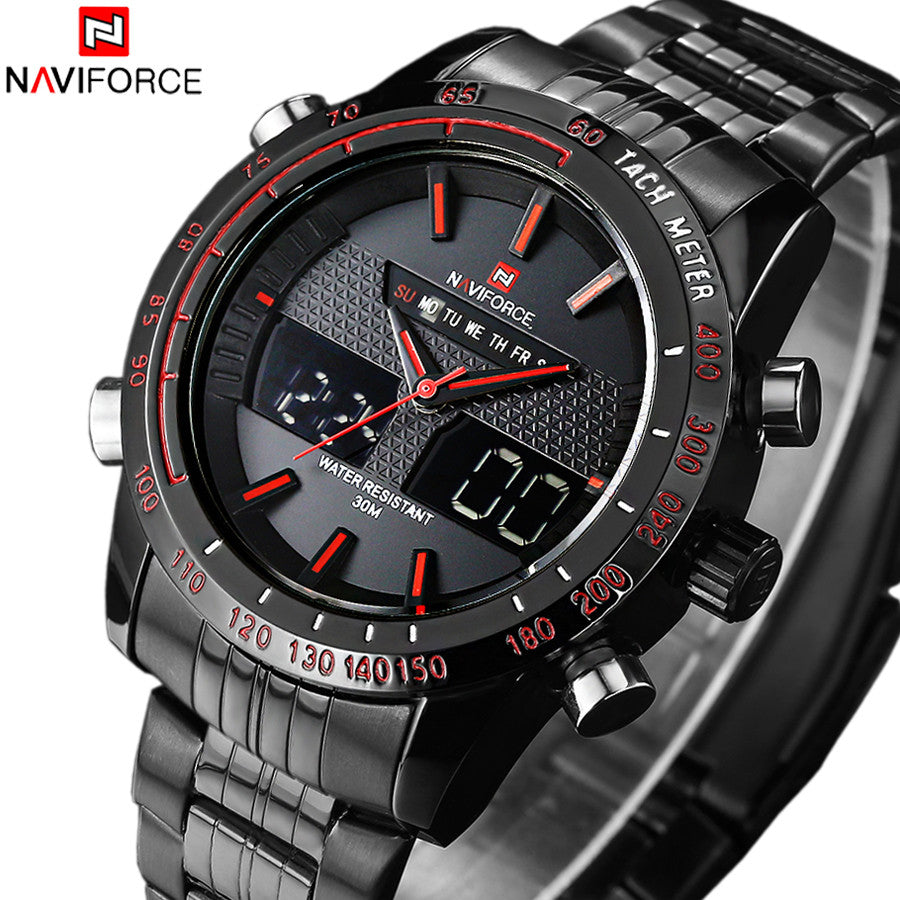 Luxury Brand Waterprrof Men's Watches Full Steel Quartz Analog Digital