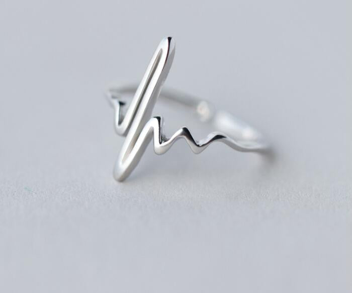 Silver Heart Beat Rings for Women Adjustable Electrocardiogram Rings