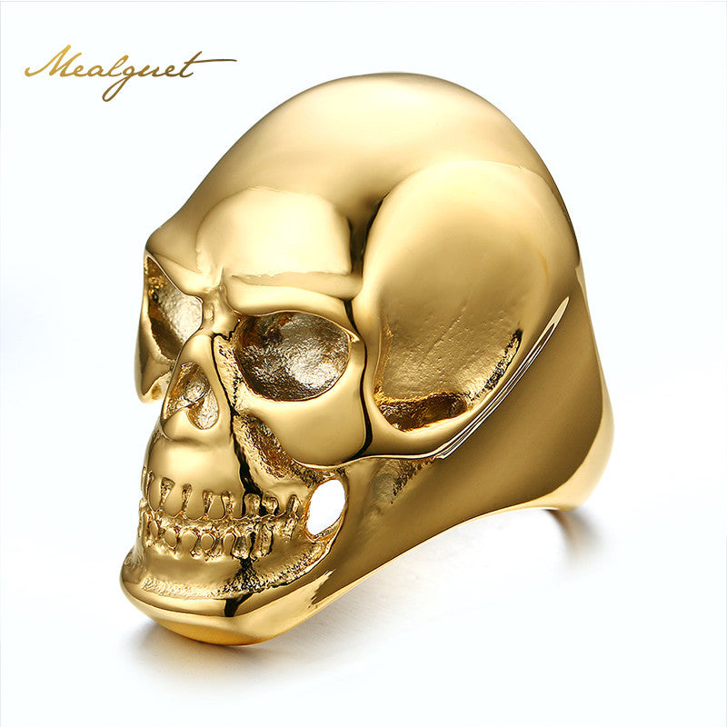 Skull Rock Rings Wholesale Fashion Big Gold/Black Plated Men Ring