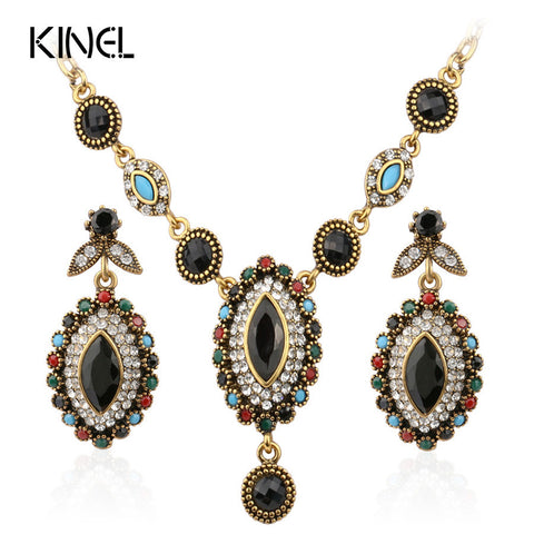 Charms Indian Jewelry Mixed Colorful Stone Crystal Gold Plated Wedding Jewelry Sets For Brides Free Shipping