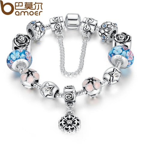 NEW Silver Exquisite Glass Bead Bracelet With Safety Chain Luxury Strand Bracelet Jewelry PA1833