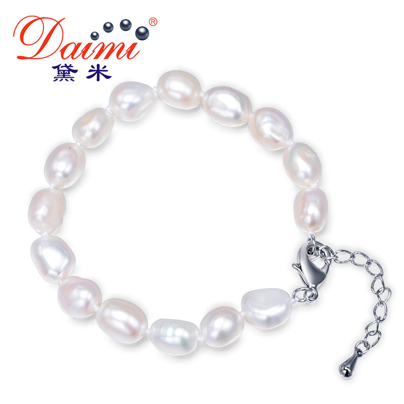 DAIMI 9-10mm Baroque Bracelet Natural White Freshwater Pearl