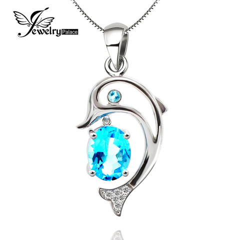 Smooth Shining Dolphin Topaz Gemstone Pendant Solid 925 Sterling